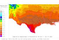 Arkansas USA base 32 degree-days to date
