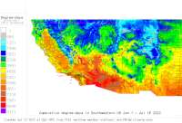 California USA base 32 degree-days to date