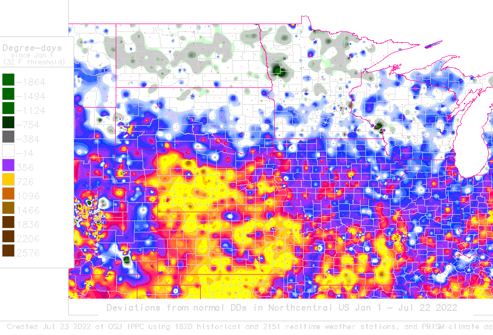 Daily Degreeday Map And Calculator For North Central USA - North central us map