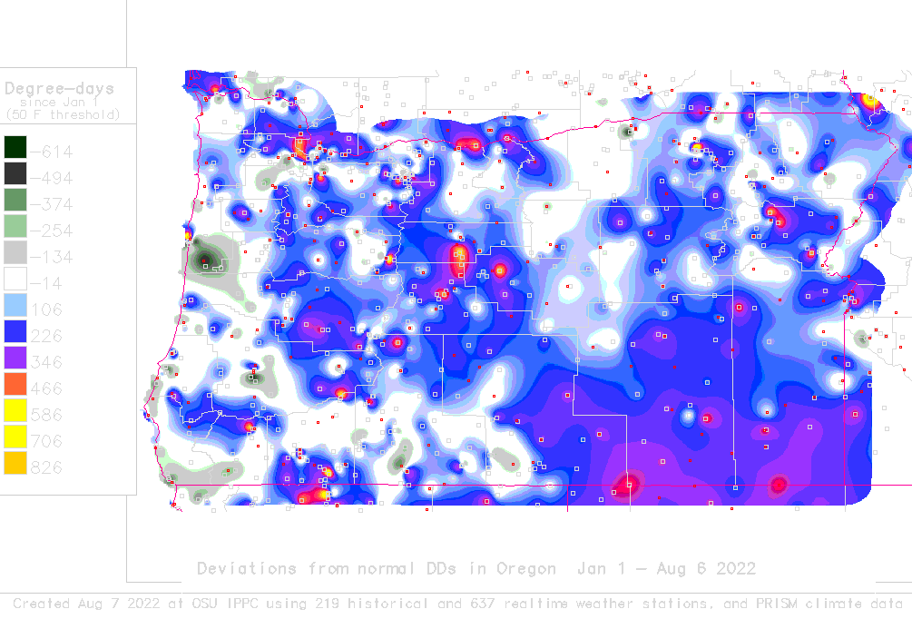 oregon deviations from normal to date