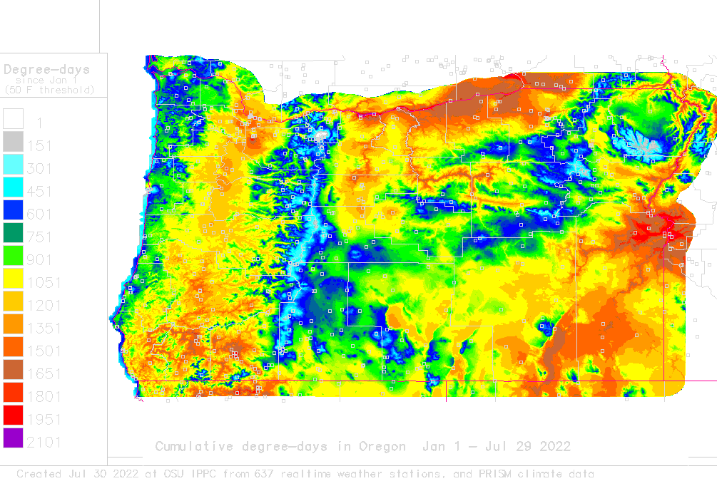 oregon this year to date
