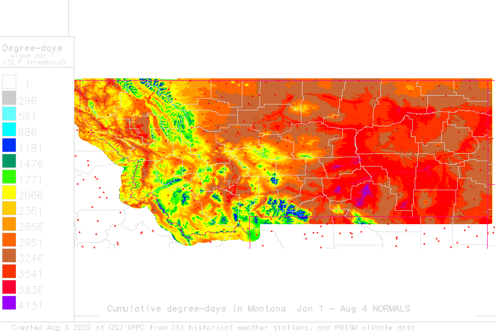 Snotel Montana Map.Daily Degree Day Map And Calculator For Montana