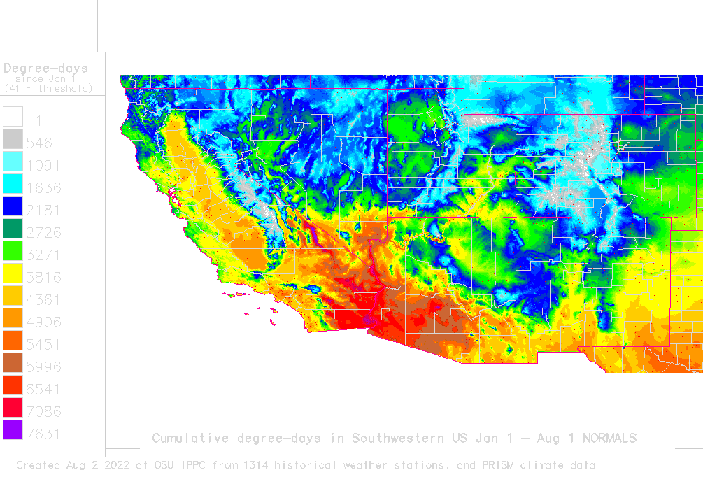 Daily Degree Day Map And Calculator For Sw Usa