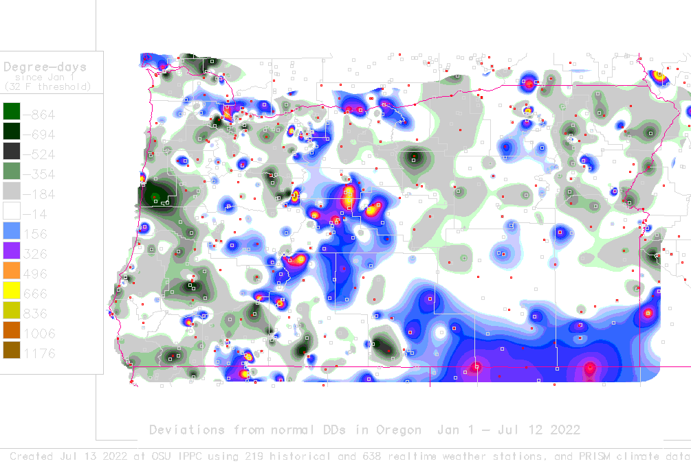 Daily degree-day map and calculator for Oregon