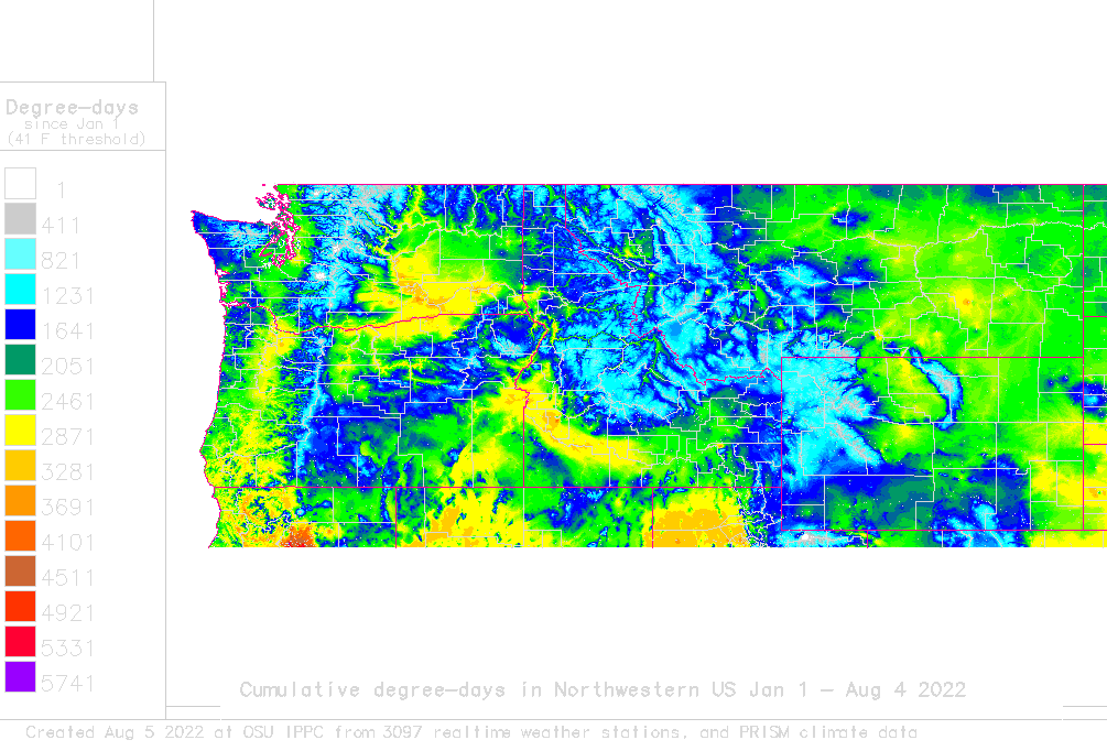 Nw Usa Map.Daily Degree Day Map And Calculator For Nw Usa